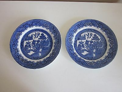 """Two Myott Son & Co Blue Willow Salad Plates 7.75"""" dia"""