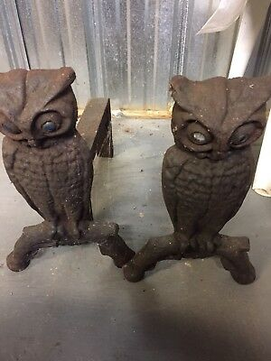 Vintage Set Cast Iron Owl Fireplace Andirons w Glass Eyes Antique Fire Dogs