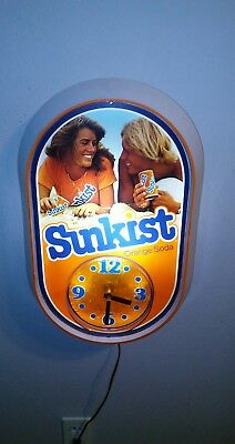 Vintage 1970's Sunkist Soda Pop Lighted Clock Sign Advertising 100% Working RARE