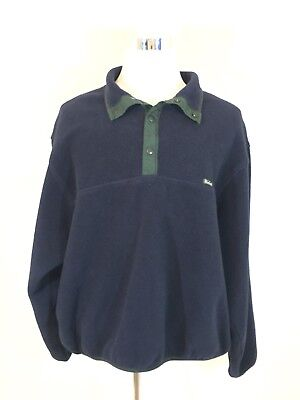Mens Woolrick Pull Over Button Top Jacket Navy Blue Long Sleeve Size 3X Tall