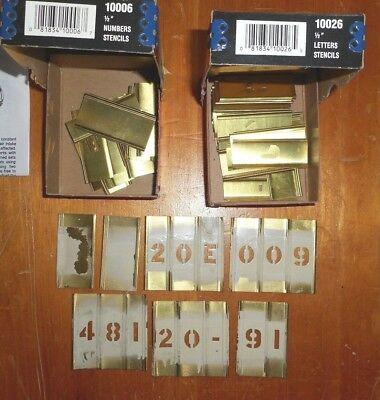 """Hanson ½"""" Brass Stencil Sets—10006 (Numbers) & 10026 (Letters)—Gently Used"""