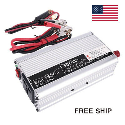 1500W 12V DC TO 220V AC Car Truck Auto POWER INVERTER Converter USB Charger NEW