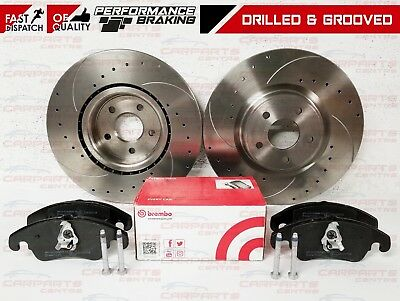 Ford Focus Rs Rs500 Mk2 Front Drilled And Grooved Brake Discs Brembo Brake Pads