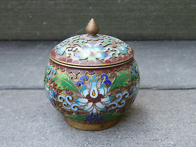 Cloisonné Enamel and Brass, multi-colored Storage/Trinket Box with Lid