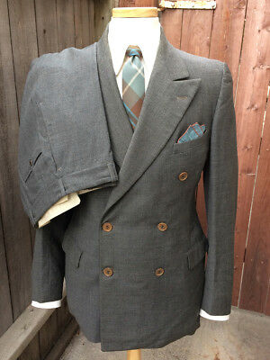 Vintage 1930's 1940's Gray Wool Double-Breasted Suit by Isaac Baker & Son.