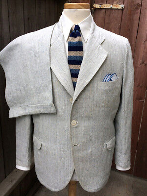Vintage 1930's Palm Beach Style Lt. Blue Flecked Striped Summer Suit!