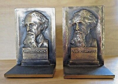 Antique Vintage Charles Dickens Cast Bronze bookends, 1926