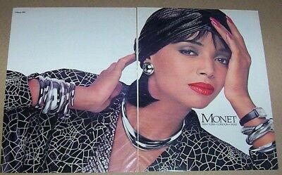 1987 print ad - Monet fashion jewelry -beautiful girl vintage 2-page advertising
