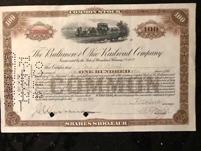 Vintage stock certificate, 100 shares The Baltimore & Ohio Railroad Company 1930