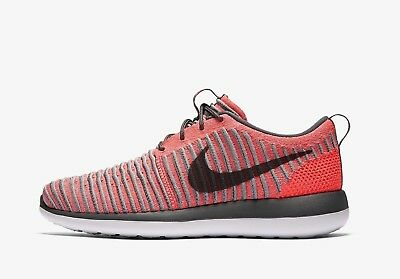 Nike Roshe Two Flyknit (GS) 844620-601 Hot Punch Grey Youth Girl's Running Shoes