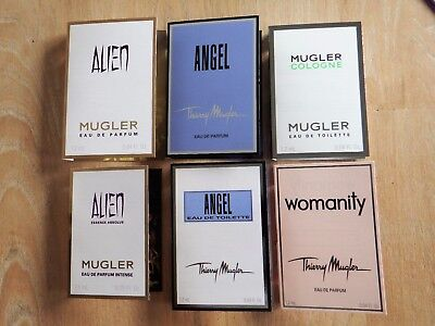 Thierry Mugler Alien Essence Absolue Angel Cologne Womanity 6x Spray Proben NEU