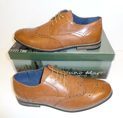 Men's Tan Leather New Lace Up Brogues Formal Wedding Office Shoes Sizes 9 10 11