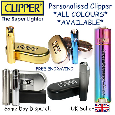 Personalised Engraved Metal Clipper Lighter - Black Blue Gold