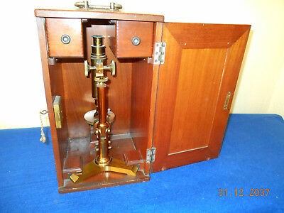 1894 Bausch and Lomb antique vintage microscope with case, accessories
