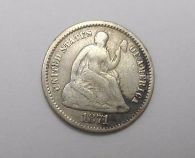 1871 Seated Liberty Silver Half Dime - VG