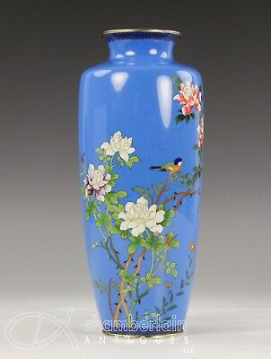 Old Japanese Cloisonne Vase With Birds And Flowers