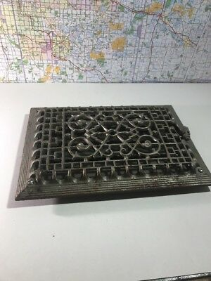 Antique Vintage Cast Iron Wall Heat Register Grate Grill Louvered Vent
