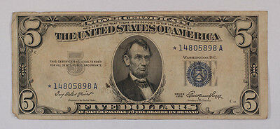 Old 1953 $5 Dollar Bill US Silver Certificate *STAR* Note Vintage Estate