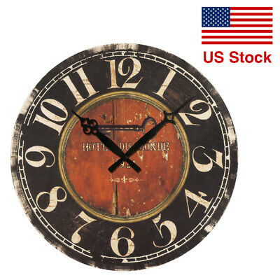 Antique Rustic Vintage Style Wooden Wall Clock Modern Design DIY Art Home Decor
