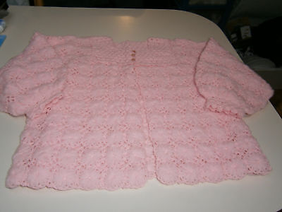 CHILD'S Vintage 1930's -1940's Pink Wool Handmade Crochet Bed-Jacket Collectable