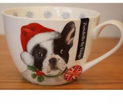 From England Boston terrier FRENCH BULLDOG Holiday Christmas cup MUG BONE CHINA