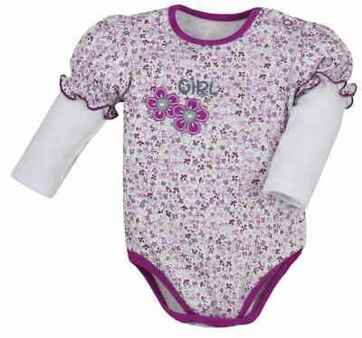 100% Cotton Baby GIRLS Long Sleeve Bodysuits 0 - 3 months NEW