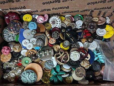 Antique/Vintage Mixed Sewing Button Lot - Take a Peek! - Bakelite, Glass, Metal+