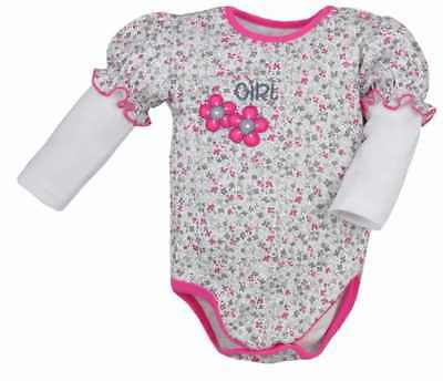 100% Cotton Baby GIRLS Long Sleeve Bodysuits 0 - 12 months NEW