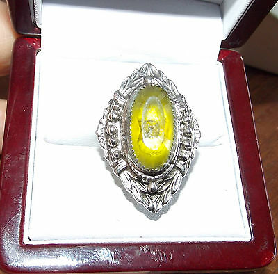 Huge Vintage Silver Filigree Peridot Green Faceted Stone Marquise Laurel Ring