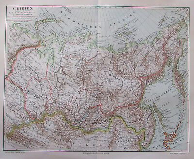 1897 Sibirien Russland Russia - Lithografie alte Landkarte old map