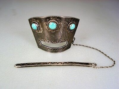 Early Navajo Stamped Sterling Silver & 3 Turquoise Hair Ornament