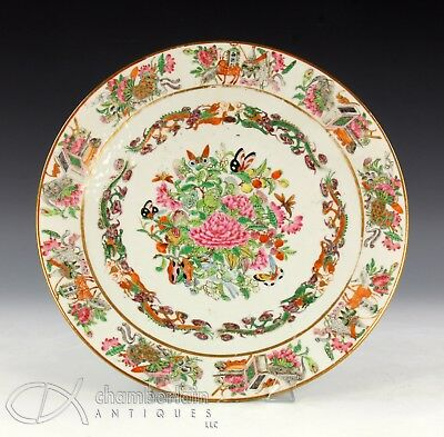 Large Antique Chinese Famille Rose Porcelain Charger Plate W Great Color
