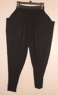 Woman's Vintage Cy Black Medium Polyester Stretch Genie Pants  made USA