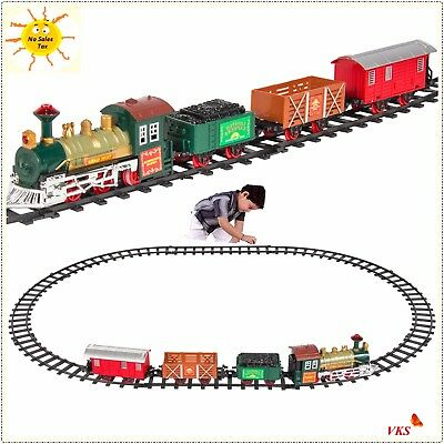 Train Set Kids Battery Operated Railway Car With Music,Lights Xmas Gift Toy Play