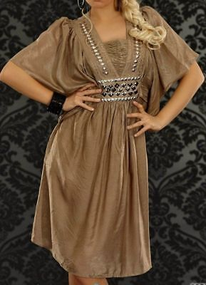 Trendy Damen Girly Tunika Kleid Silber Steine Satin Glanz 34/36/38 gold braun