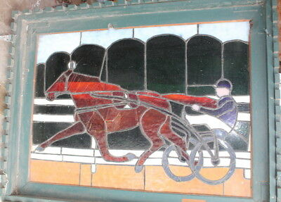 "Horse Racing Stained Glass Window--needs repaired--21"" x 30"""