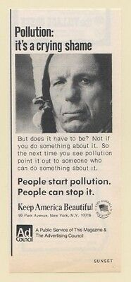 1973 Iron Eyes Cody Indian Pollution A Crying Shame Keep America Beautiful Ad