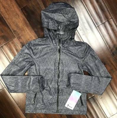 Lululemon Ivivva Hit The Field Jacket FGGL/BLK Grey Black Girls Rain 10 12 14