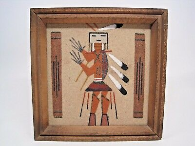 Vintage Native American Navajo Sand Art Painting Camel God Yei Signed & Framed