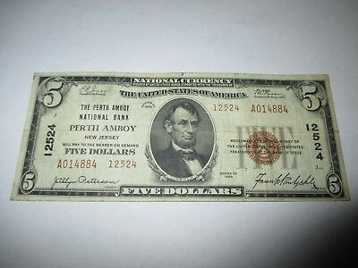 $5 1929 Perth Amboy New Jersey NJ National Currency Bank Note Bill! #12524 VF!