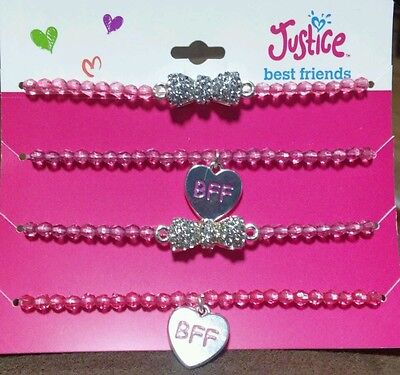Justice,bracelet,BFF,pink,beaded, rhinestone bow. heart,engraved,fashion jewerly