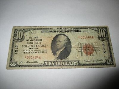 $10 1929 Poughkeepsie New York NY National Currency Bank Note Bill! #1312 FINE!