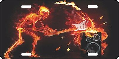 Skeleton Guitar Speaker Heavy Metal Rock Music Fire License Plate Car Truck Tag