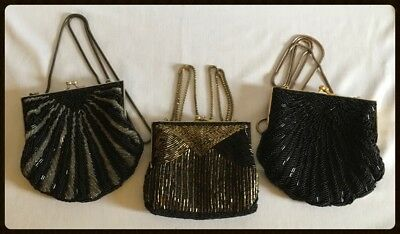 Lot Of 3 Ladies Vintage Beaded Evening Bags/Purses - Black/Silver/Gold