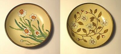 Two (2) Vintage Asian Porcelain & Brass Bowls 2 Different Floral Designs Stamped