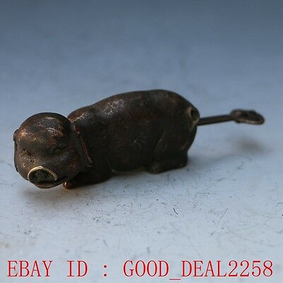Rare collectibles Chinese old style Brass Carved Pig lock with key gd7517