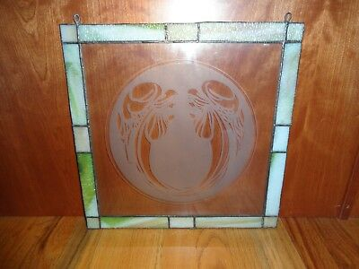 Hand Crafted Vintage Stained Glass Angel Window 14 X 14