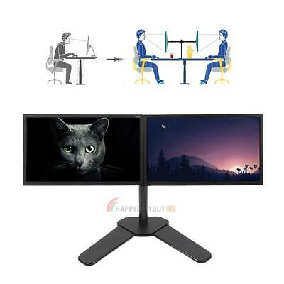 "Double Dual Arm Desk Mount Stand LCD Monitor Computer Bracket 10""-27"" Screen TV"