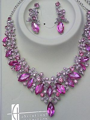 PINK Floral Metal Crystals Necklace and Earrings Chunky Flowers Wedding Prom