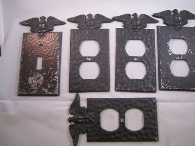 Vintage Eagle Light Switch Cover Plate Hammered Black Colonial EMIG 805 Metal